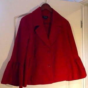 Halogen red 3/4 length swing coat